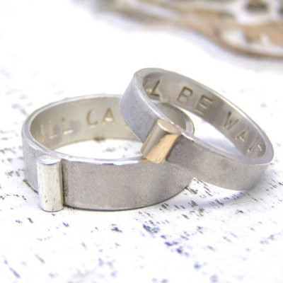 Personalised Silver And Gold His And Hers Rings - The Name Jewellery™