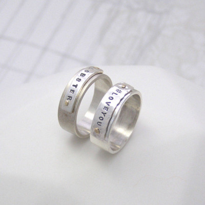 Personalised Silver And Gold Rivet Rings - The Name Jewellery™
