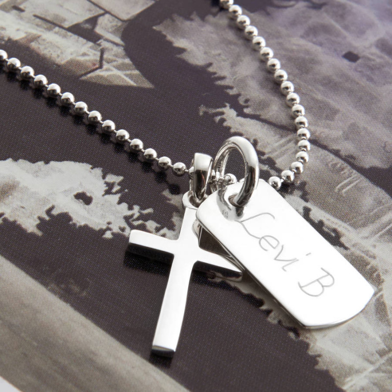 Sterling Silver Dog Tag with Crosses