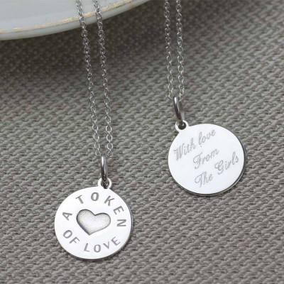 Personalised Silver And Gold Love Token Pendant - The Name Jewellery™
