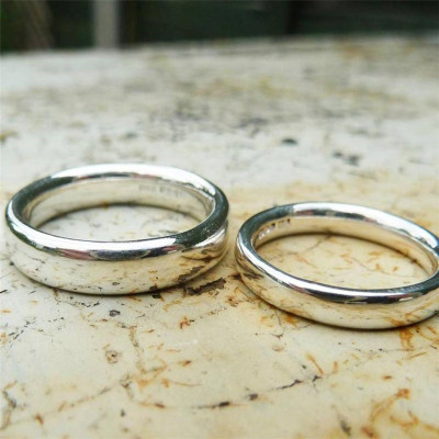 Silver Comfort Fit Wedding Ring Set - The Name Jewellery™