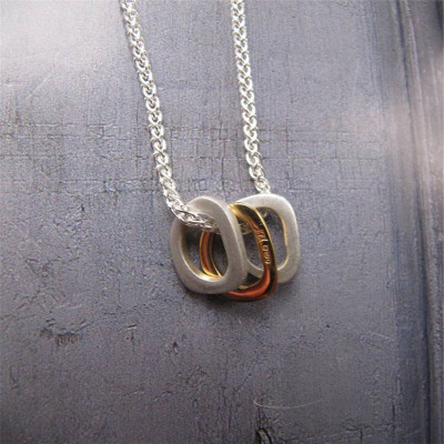 Silver Ovals Necklace With Gold - The Name Jewellery™