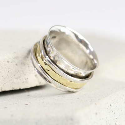 Sterling Silver And Gold Hammered Effect Spinning Ring - The Name Jewellery™