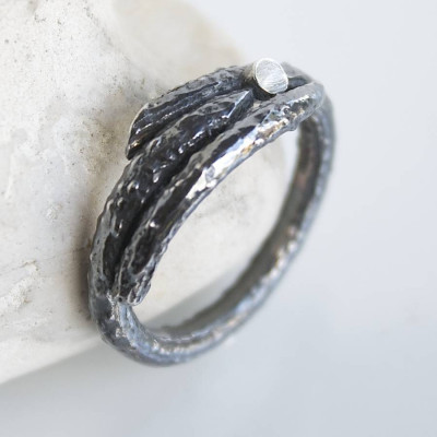 Handmade Sterling Silver Mens Woodland Branch Ring - The Name Jewellery™