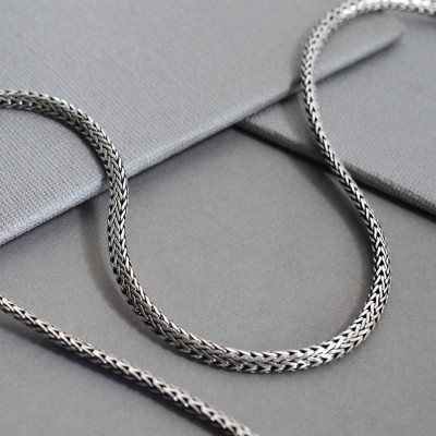 Sterling Silver Oval Snake Necklace - The Name Jewellery™