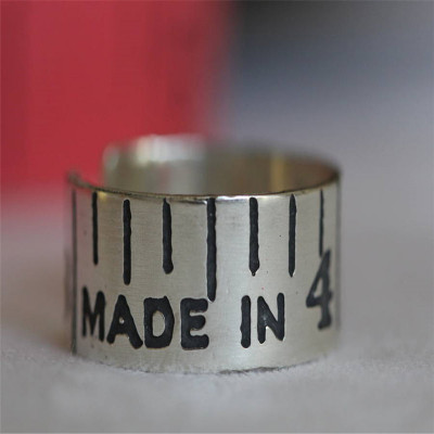 Etched Silver Vintage Style Tape Measure Ring - The Name Jewellery™