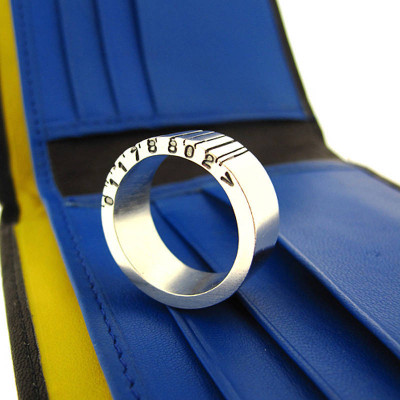 Wide Silver Barcode Ring - The Name Jewellery™